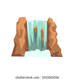 Cartoon river waterfall. Fresh natural spring water. Design element for travel brochure, children s book or mobile game. Isolated vector illustration
