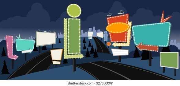 Cartoon road with billboards at night. Ad signs.