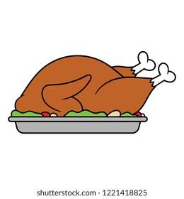 Cartoon Roast Turkey Dinner
