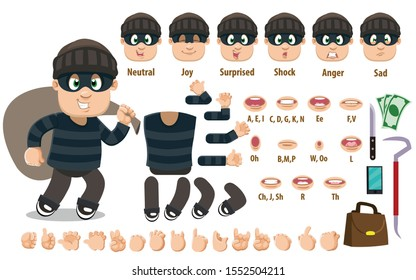 Cartoon robber constructor for animation. Parts of body: legs, arms, face emotions, hands gestures, lips sync. Full length, front, three quater view. Set of ready to use poses, objects.