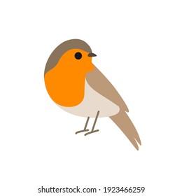 Cartoon robin bird. Cute bird. Vector illustration for prints, clothing, packaging, stickers.