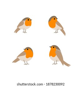 Cartoon robin bird icon set. Cute bird in different poses. Vector illustration for prints, clothing, packaging, stickers.