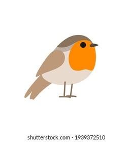 Cartoon robin bird. Vector illustration for prints, clothing, packaging, stickers.