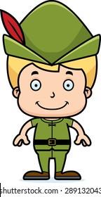 A cartoon Robin Hood boy smiling.