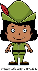 A cartoon Robin Hood girl smiling.