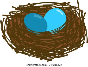 Cartoon Robin's nest made of twigs with two blue robin's eggs. Hand drawn vector