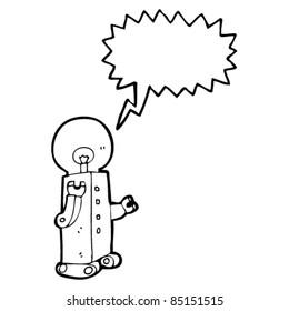 cartoon robot with bulb head