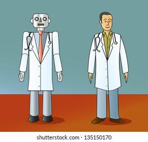 A cartoon robot doctor standing next to a human doctor.