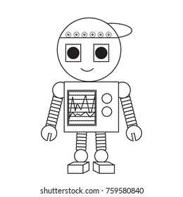 cartoon robot icon over white background black and white design vector illustration