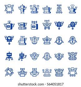 Cartoon Robot  icon set. Electromechanical cartoon machine, isolated vector  illustration.  Linear design, editable stroke.