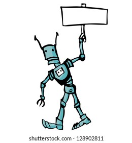 Cartoon robot. Illustration on white background for design