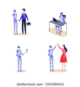 Cartoon robot set - futuristic cyborg giving handshake to businessman, working at office laptop, holding science beaker and giving high five. Flat isolated vector illustration.