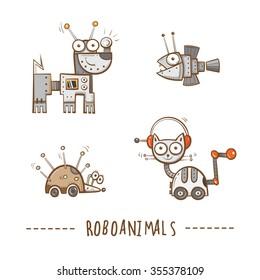 Cartoon robots animals  set. Vector image. Doodle stile.