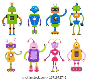 Cartoon robots for girls and boys vector isolated on white background. Cute robot girl toy and character robo boy electronic illustration