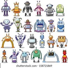 Cartoon robots set - vector