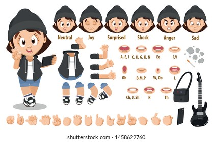 Cartoon rock musician girl constructor for animation. Parts of body: legs, arms, face emotions, hands gestures, lips sync. Full length, front, three quater view. Set of ready to use poses, objects.
