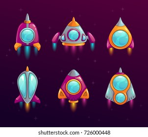 Cartoon rocket icons set. Colorful vector space assets for game design.