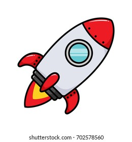 Cartoon Rocket Ship Vector Illustration