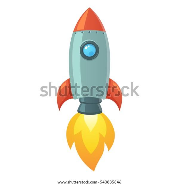 Cartoon Raketenraumschiff Start, einzelne Vektorgrafik. Einfaches Retro-Raumschiff-Symbol.