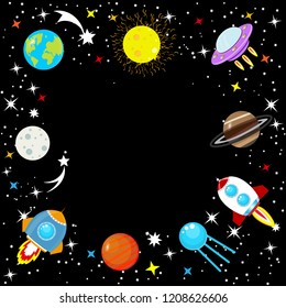 Cartoon rocket. Spaceship in space among stars, planet Earth and Moon, Mars, Jupiter, moon, UFO. Children's simple space frame. Constellation of the Galaxy on a black background. Vector illustration.