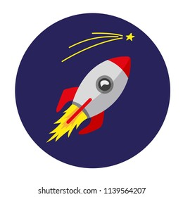 Cartoon rocket with star. Shuttle in flat style. Vector space ship flying.