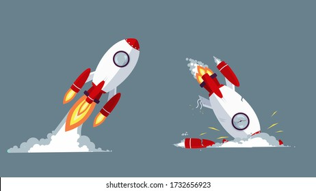 Cartoon rocket taking off and crash vector graphic illustration. Startup launch and failure concept isolated. Successful growth and fail of business. Analysis mistake or strategy problem