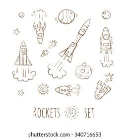 Cartoon rockets set. Stars and planets. Vector image.