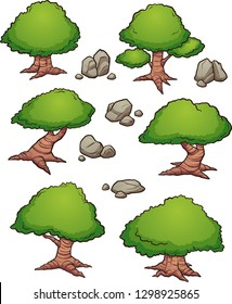 Cartoon rocks and trees aerial view. Vector clip art illustration with simple gradients. Each on a separate layer.