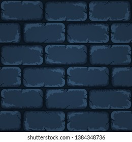 Cartoon rocky seamless navy blue stone tile pattern, vector background for mobile gui design.
