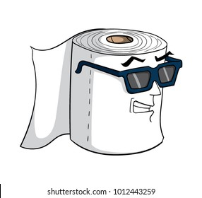 Cartoon roll of toilet paper with sunglasses