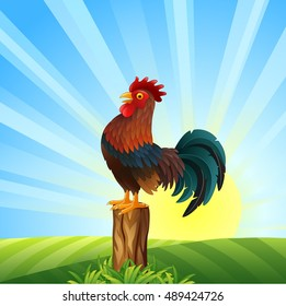 Cartoon rooster crowing