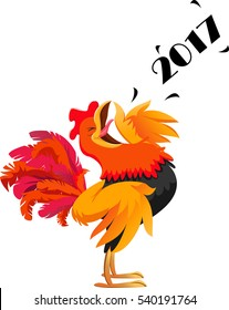cartoon rooster crowing symbol of 2017 new year