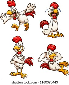 Cartoon rooster with different poses and expressions. Vector clip art illustration with simple gradients. Each on a separate layer.