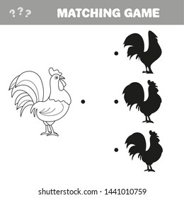 Cartoon rooster. Find the correct shadow. Educational game for children. Cartoon vector illustration.