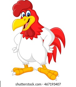 Cartoon rooster posing