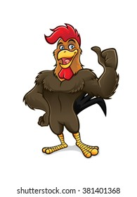 cartoon rooster standing confidently with a smile and thumbs up