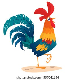 Cartoon rooster stands on one leg, vector illustration symbol of the year 2017 on the Chinese calendar