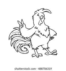 Cartoon rooster. Symbol of 2017. Vector character on a white background.