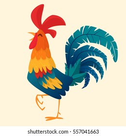 Cartoon rooster vector. Isolated.