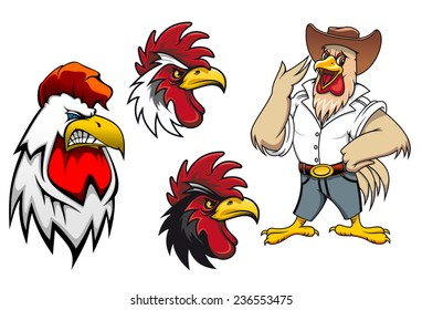 Cartoon roosters or cocks characters for mascot ot agriculture design, vector illustration