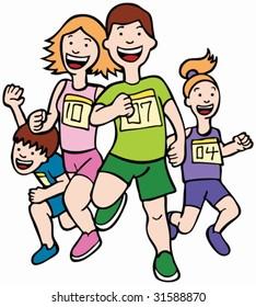 Cartoon Runner: People in a race.
