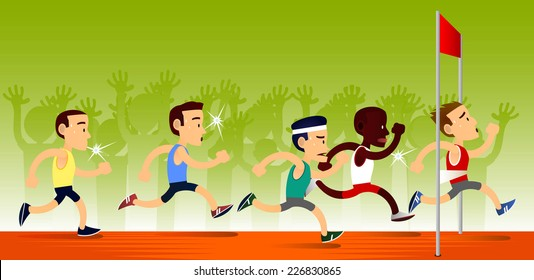 Cartoon runners at the finish line