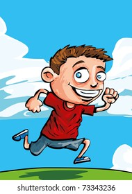 Cartoon running boy with blue sky and clouds behind him
