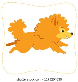 Cartoon running dog: pomeranian Spitz. Vector illustration. Isolated on white background.