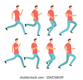 Cartoon running man in casual clothes. Young male jogging. Animation frames sequence isolated vector set. Animation young character run, sport walk runner illustration