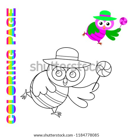 Cartoon Running Owl Hat Lollipop Coloring Stock Vector Royalty Free - Lollipop-coloring-page