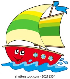 Cartoon sailboat on white background - vector illustration.