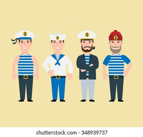 cartoon sailor characters set captain