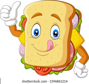 sandwich cartoon images stock photos vectors shutterstock https www shutterstock com image vector cartoon sandwich giving thumbs 1596861214