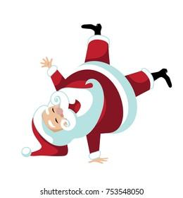 Cartoon Santa Claus break dancing or doing a cartwheel. Humorous illustration for Christmas. EPS 10 vector illustration.